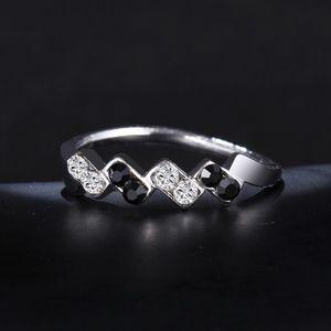 Jewelry - Chevron Black & Clear Crystal Wavy Silver Ring